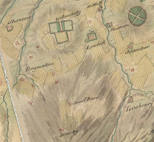 Map showing Knockie and Killmundy, Longside, Aberdeenshire