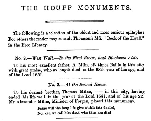 From The History of Dundee, James Thomson, 1847