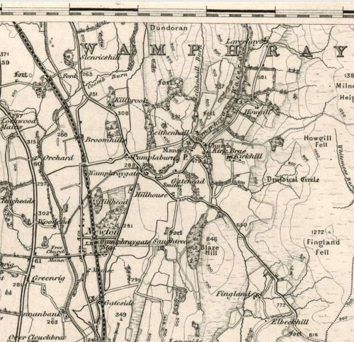 Wamphray Parish showing Newton-Wamphray on the rail line, 1885-1900