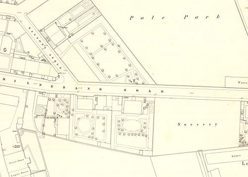 Map showing Milnebank Road and Easson's Angle in Liff and Benvie, Dundee, c 1855