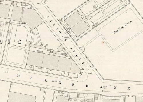 Map showing Milnebank Road and Easson's Angle in Liff and Benvie, Dundee, c 1871