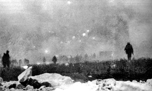 British infantry advancing through chlorine gas at Loos, Sept 25, 1915