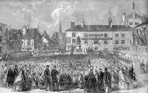 Inauguration of the Statue of Samuel Crompton, inventor of the Spinning Mule, in Nelson Square, Bolton, printed Oct 4, 1862