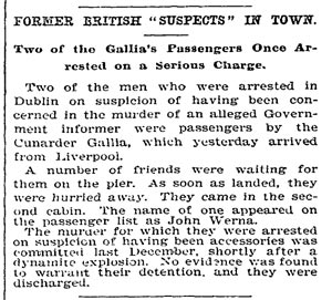 Two of the Gallia's Passengers Once Arrested on a Serious Charge