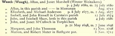 Wauch John and Janet McCulloch m. 7 June 1698