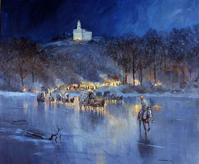 Painting of the Exodus from Nauvoo