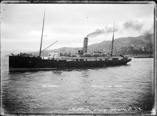 The steam ship 'Moeraki', Wellington Harbour, photographed by John Dickie, circa 4 October 1912.