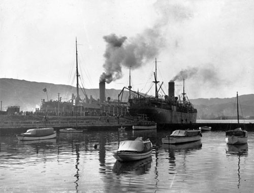 New Zealand World War I transports `Moeraki' and `Monowai' leaving Wellington for Samoa, on the 15th of August, 1914.
