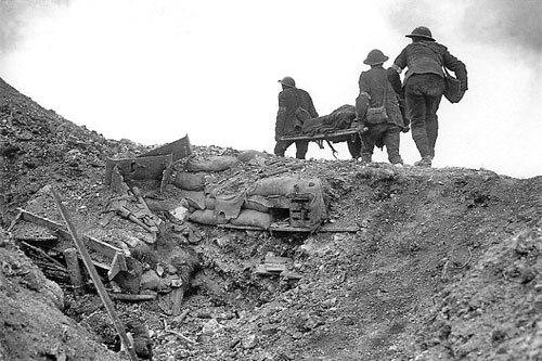 Stretcher bearers at Thiepval Ridge, Sept 1916