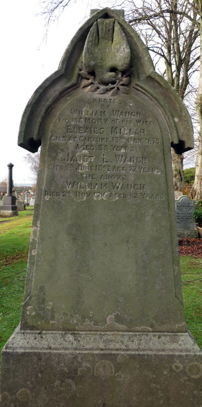 Erected by William Waugh in Memory of his wife Elexies Millar