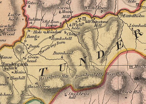 1832 Map, Jogn Thompson's Atlas of Scotland, showingTundergarth Kirk and Lairdholm (upper right)