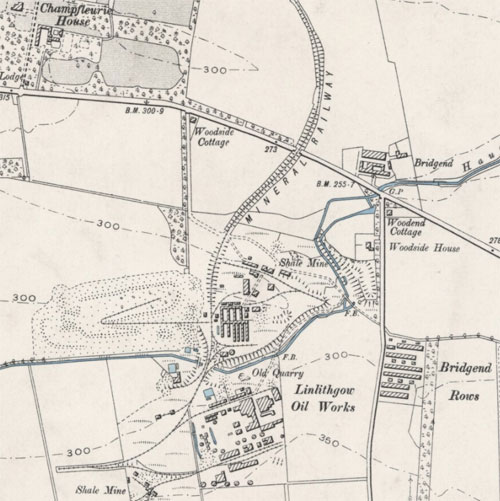 Map showing the Linlithgow Oil Works to the southeast of Linlithgow