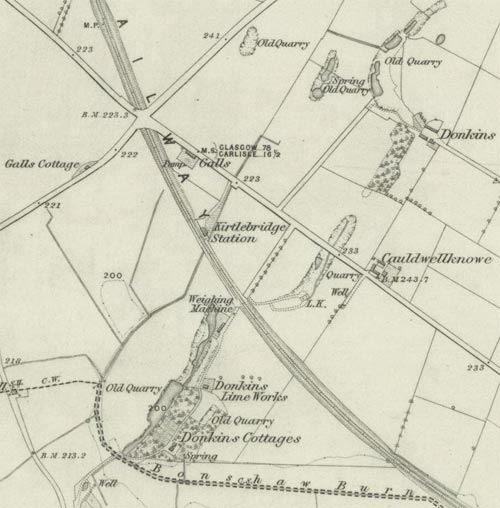 Map showing Galls Cottage, Galls and Donkins, Ordnance Survey Map, 1862