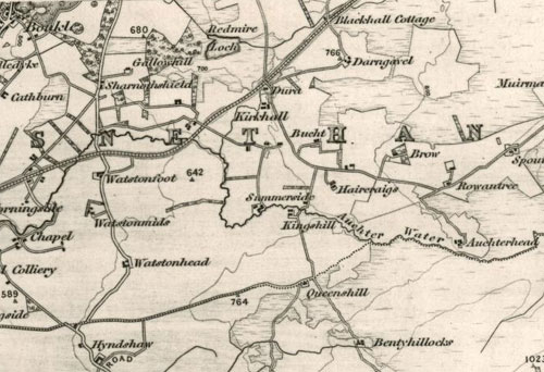 Map showing Hyndshaw Farm, Kirkhall and Haircraigs c 1861