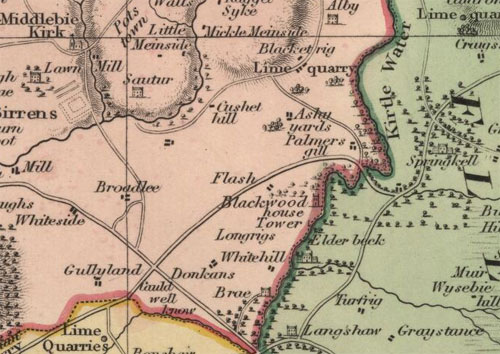 1832 Map, John Thompson's Atlas of Scotland, showing the Springkell Estate (Laverockhall).