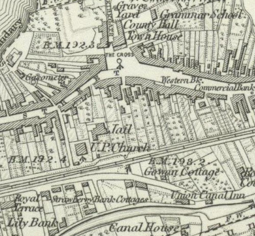 Map showing Strawberry Bank Cottages, Linlithgow, c 1856