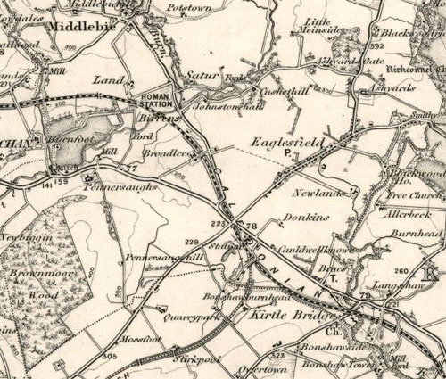 Map showing Eaglesfield and Donkins in Middlebie.