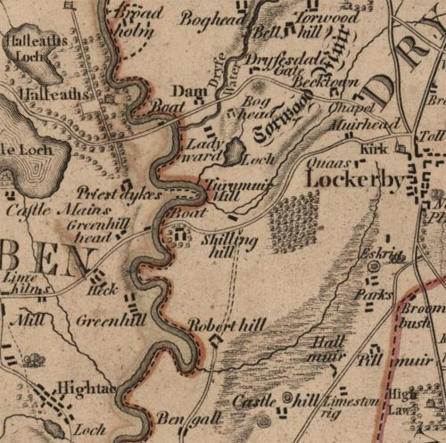 Map of Lochmaben showing Halleaths, Priest Dykes and Lockberby, by William Crawford, 1804