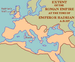 Roman Empire during the time of Hadrian A.D. 117